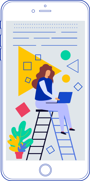 learning modern woman app illustration