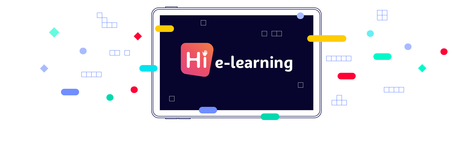 Hi e-learning logo tablet illüstrasyon